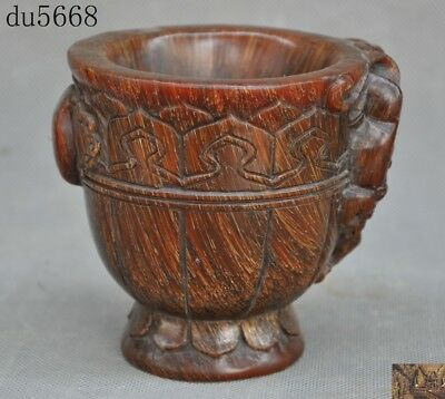 Rare Chinese Ox horn carved Brave troops Pixiu statue Wine vessel wineglass cup