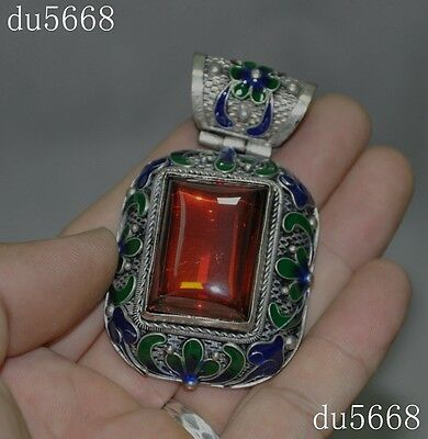 Collect Chinese Tibet silver Cloisonne inlay gem flower statue jewelry Pendant