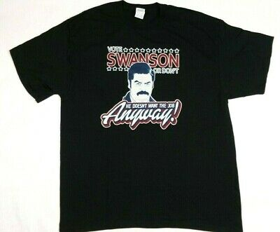 VOTE RON SWANSON Adult T-Shirt Exta Large XL Black Parks and Recreation