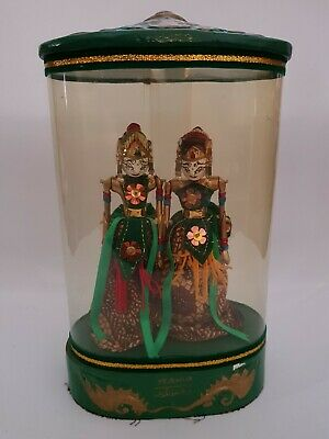 Vintage Miniature Rama & Shinta Decorative Wooden Stick Puppets In Display Case