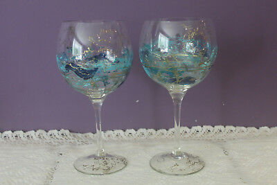 Set Of 2 Romanian Mouth Blown Water / Wine Glasses