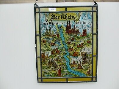 Stained Glass Window Hanger Leaded Chain Panel Old Der Rhein River Germany