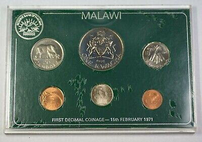 1971 Malawi 6 First Decimal Coinage Coins in Plastic Case