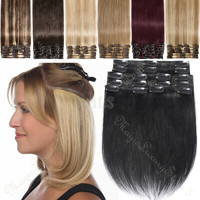 Clip In 100% Real Remy Human Hair Extensions Full Head Long Medium Short UK BEST