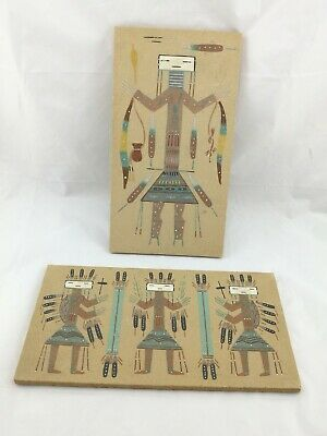 2 x Original John Benally Navajo Yei Sand Painting Signed by Artist