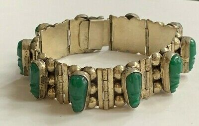 Vintage Mexico Carved Jade Tribal Face Mask & Sterling Silver Bracelet