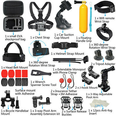 For GoPro Accessories Hero7/6/5/4/3 Bundle Camera Outdoor Sports Set Kit 44-in-1