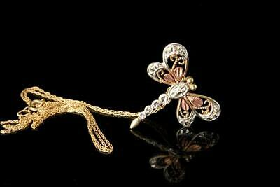 Vintage 3 Colors 10K White Yellow Pink Gold Dragonfly Pendant Necklace  A64409
