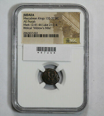 135-37 BC AE Prutah Widow's Mite Coin of the Bible Ancient Judea NGC
