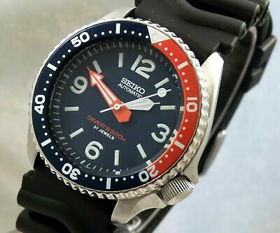 Seiko Blue 'Spork' Pepsi Bezel Automatic Pilot Scuba Divers Watch Custom SKX007