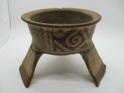 "Pre-Columbian Mexico Mixtec Pottery Tripod Bowl Artifact 4.25"" H x 5.25"" dia"