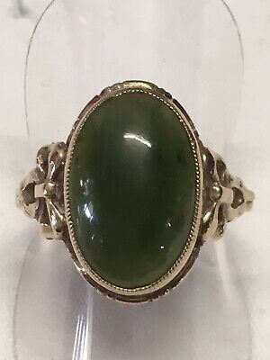 Vintage Ladies 9ct Solid Yellow Gold & Green Stone Ring BOWS  Old Estate Item
