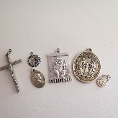 Mixed lot of vintage religious medallions & cross