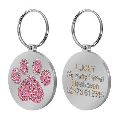 Round Paw Rhinestone Dog Tags Pet Puppy Cat Dog ID Name Phone Personalized Tags