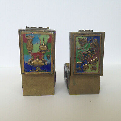 Vintage Antique Asian Chinese Cloisonne Enamel 2 Hinged Brass Stamp Boxes