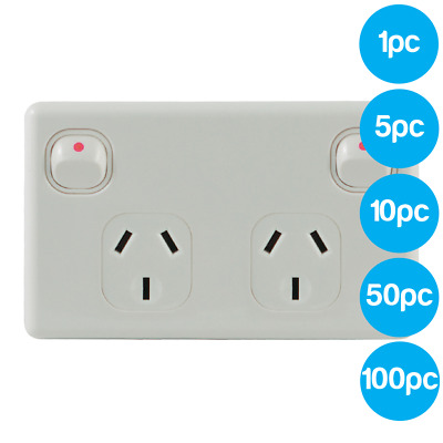 Double Power Point 10A White GPO Socket Outlet AS/NZS Approved