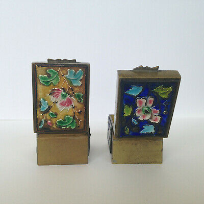 Vintage Antique Asian Chinese Cloisonne Enamel 2 Hinged Brass Stamp Boxes CHINA