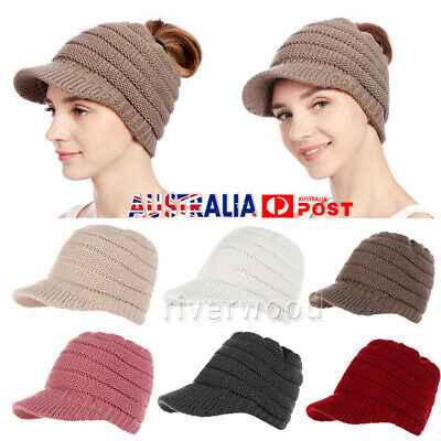 Lady Warm Knitted Messy High Bun Ponytail Visor Cap Ribbed  Beanie Tail Knit Hat