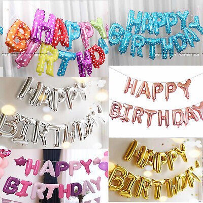 Happy Birthday Balloons Bunting Banner Self Inflating Letters Foil Balloon Party