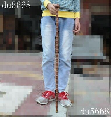 "35"" old Chinese huanghuali wood pure Hand carved Crutch Cane Walking stick"