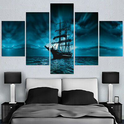 Home Decor Blue Ocean Sailboat Sea Pirate Ship Canvas Print Painting Wall Art 5P