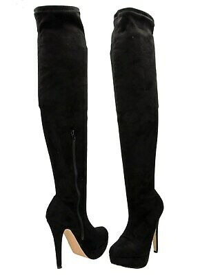 1c538f07f7b Black sexy Over The Knee Boots Faux Suede Stiletto Heel Platform UK 6 /39  N51