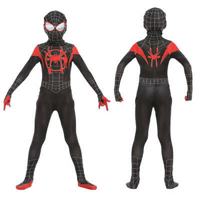 Spiderman Into the Spider-Verse Kids Costume Miles Morales Cosplay Jumpsuit Hot