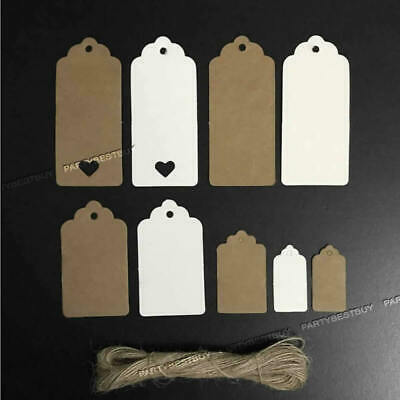 100 Scallop Rectangular Kraft Gift Tags Paper Card Label Luggage + Free Strings