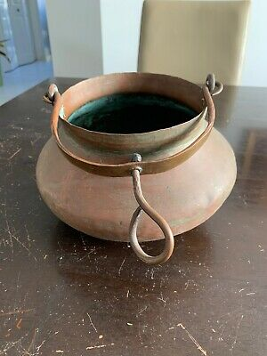 Vintage HAMMERED Copper POT Cauldron