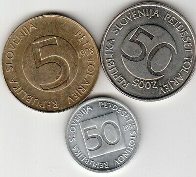 3 different world coins from SLOVENIA
