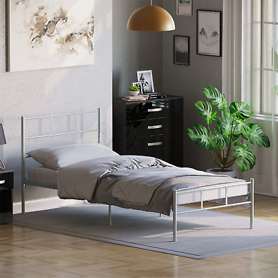 Dorset Single Bed Frame Silver Metal Steel Modern Stylish Comfy Modern Strong