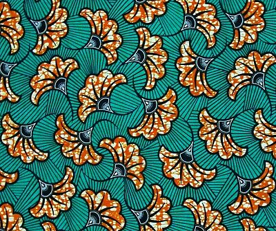 AFRICAN FABRIC 1/2 Yard Cotton Wax Print BROWN BLUE YELLOW Abstract