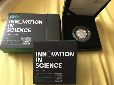Stephen Hawking 2019 UK 50p Silver Proof Coin (No 2559 of 5500)