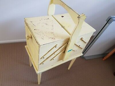 Vintage Cantilever Sewing Box, painted and repaired. Good Condition.