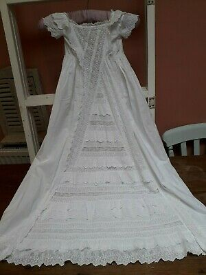 Antique Christening Gown Dress Embroidery White Cotton Doll Baby Vintage