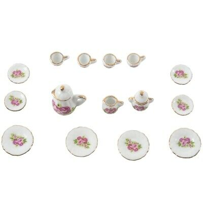15 pieces Porcelain tea set Dollhouse miniature foods Chinese rose dishes c Y5I7