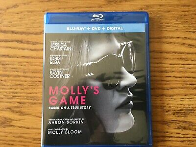 Molly's Game (Blu-ray DVD) Jessica Chastain Idris Elba Kevin Costner Michael Cer