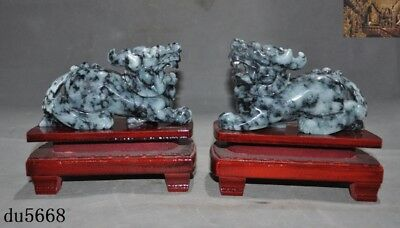 "6""100% Natural Emerald Green Jade Jadeite carved Foo Dog Lion beast statue Pair"