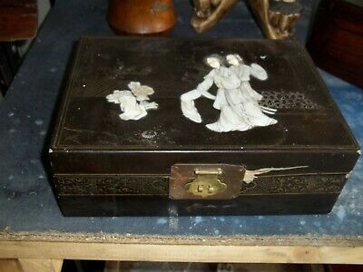 Antique Late 19Th Century Laquered Wood Japanese Jewelry Box, Mother Of Pearl