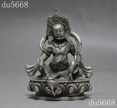 Tibet Tibetan silver Buddhism temple Yellow Jambhala Mammon wealth God statue