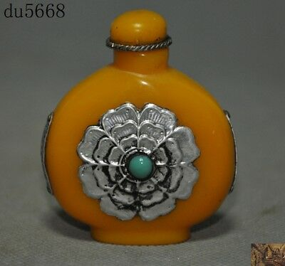 Chinese Artificial Beeswax Inlay Tibetan silver gem flower statue Snuff bottle