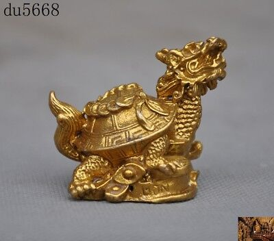"2""Chinese Feng Shui brass copper wealth Yuanbao coin animal Dragon turtle statue"