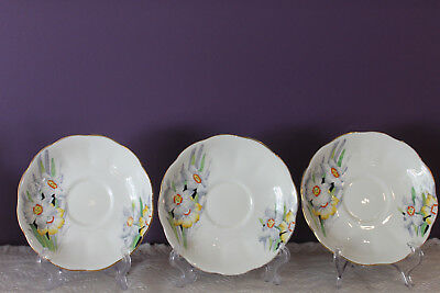 SET OF 3 ROYAL ALBERT ENGLAND CROWN CHINA 'NARCISSUS' SAUCERS ONLY c1920's
