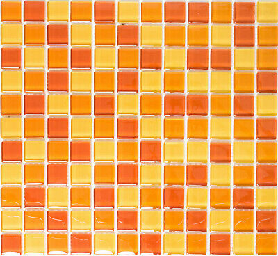 Mosaik Fliese Keramik gelb orange rot gl/änzend f/ür WAND BAD WC DUSCHE K/ÜCHE FLIESENSPIEGEL THEKENVERKLEIDUNG BADEWANNENVERKLEIDUNG Mosaikmatte Mosaikplatte 1 Matte