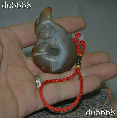 Collect Old Chinese natural agate carving pig dragon hook statue amulet Pendant