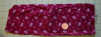 7505 Small piece antique 1890's cotton fabric, maroon floral