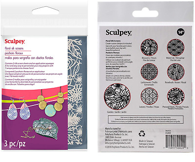 SCULPEY Polymer Clay SILK SCREEN Pattern Sheets FLORAL Use with Acrylic Paint