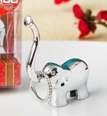 Silver Plated Chrome Good Luck Elephant Trunk Ring And Jewellery Holder Favour