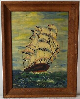 "Vintage Oil Painting on Board Seascape Sail Ship Unframed Art Decor (19"" x 15"")"