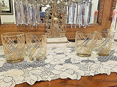 Georges Briard Mid Century 22K Gold Diagonal Lines Old Fashioned Glasses Signed